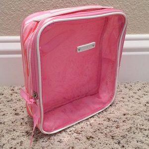 Clinique pink orange makeup toiletries bag travel
